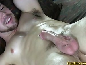 Amateur straight gut cumming at massage