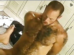 Hot action in a locker room.
