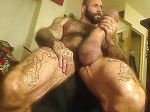 Muscle male jerks monster dick close up