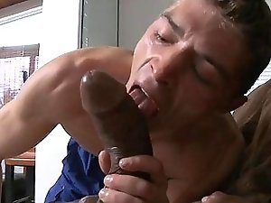 Hot boy attempts to swallow this monster penis