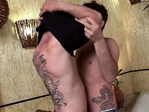 Sweet twinks Arcanjo And Villa Reis fucking their tight buttholes on camera