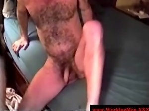 Hairy bear playing with guys cock