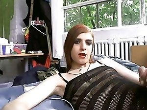 Cutie gurl getting fucked by her crossdressing male friend