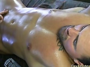 Muscular straight sucked by masseur