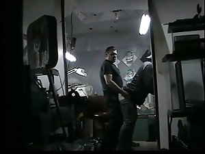 Shop owner sucks cock in his garage